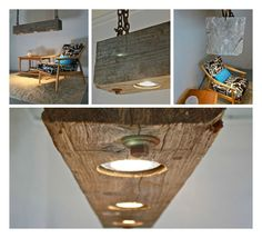 We just found this amazing light fixture made from reclaimed wood beam with a beautiful weathered grey patina and rusted chain for hanging. The lamps used