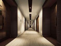 内廊下完成予想CG Hotel Hallway, Hotel Corridor, Unique Architecture, Interior Architecture, Interior Design, Wwe Roman Reigns Videos, Corridor Lighting, Elevator Lobby, Commercial Office Design
