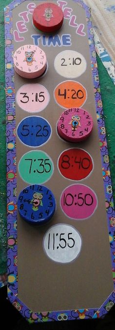 Check out this item in my Etsy shop https://www.etsy.com/listing/241466012/lets-tell-time-activity-board