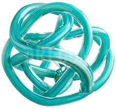 Stunning, turquoise glass knot sculpture with thin, gold flecked ribbon throughout.