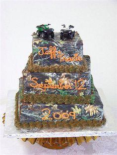 I need more Ideas and websites for an outdoor camo wedding? Our wedding date is Oct 2011 Camo Wedding, Wedding Table, Wedding Reception, Our Wedding, Bmx Cake, Table Decorations, Trucks, Wedding Reception Venues, Track