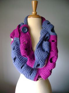 https://flic.kr/p/8uekGy | Large knitted Cowl Wrap Scarf in Orchid and Heather Blue holes extra long | This large circle cowl is a perfect accessory for the cold season. You can wear it with your favorite sweater and jeans or over your coat. This item can be worn as a cowl just fasten it on a large color coordinated button and wrap a few times around your neck or as a long ( extra long :)) fashion scarf. Unique design will definitely attract attention and following complement. The cowl…