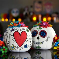 Unleash your creativity with colorful Day of the Dead pumpkins.