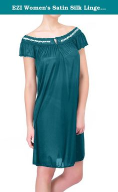 EZI Women's Satin Silk Lingerie Nightgown ,Emerald Green,XL. This Sliky Womens Nightgown will make you look great. The lightweight sliky material, keeps you cool and will provide a faltering fit for any size women. Lace Detailing near the bust/neckline gives a sexy touch. Available in Regular & Plus Size.
