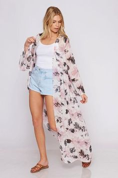 c0263a929e491 Love this floral print duster/maxi kimono featuring a v-neckine with a  button closure.