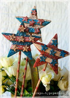 Sizzix Die Cutting Inspiration and Tips: Embossed Polymer Clay Patriotic Garden Markers by Hilary w/tutorial; April 2013