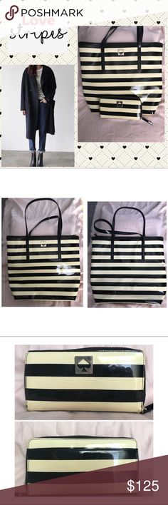 "Kate Spade Striped Tote and Wallet Set ♠️ A fabulous striped tote and wallet combo. It's a black and cream striped coated tote and wallet. Very lightweight. 14"" x 16"" with 8"" handle drop. In excellent condition with normal wear. Tote shows signs of wear on bottom corners and near straps. Wallet shows wear on the spade emblem. All are shown in pictures. Smoke free home. ♠️ kate spade Bags Totes"