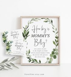 Greenery How Big Is Mommy's Belly Game, Baby Shower Games, Floral Greens Measure Mommy's Belly Game Template, Greenery How Big Belly, 056