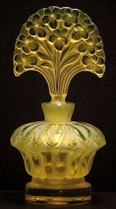 Vaseline Glass Perfume Bottle Pesnicak Bohemian Art Glass