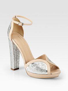 Aquazzura Cosmopolitan Glitter & Leather Platform Sandals