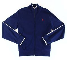 c1a82efbbe5 Polo Ralph Lauren Blue White Mens Size XL Full Zip Track Jacket Mock Neck,  Polo
