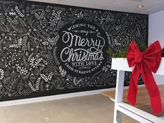 Merry Christmas Chalkboard Wall by mandira midha on Dribbble Blackboard Wall, Chalk Wall, Chalkboard Drawings, Chalkboard Lettering, Chalkboard Designs, Chalkboard Texture, Lettering Ideas, Chalkboard Paint, Christmas Signs
