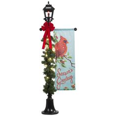 shop gemmy lighted lamp post outdoor christmas decoration with white constant incandescent lights at lowes - Outdoor Christmas Lamp Post Decoration
