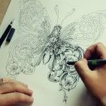 New Ornate Insects Drawn by Alex Konahin.Latvia-based graphic artist and illustrator Alex Konahin (previously) recently completed work on a new series of ornate insect drawings titled Little Wings. The illustrations were made using pens and india ink in his distinctive style that makes used of ornate scrolls and intricate floral designs.