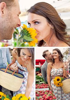 I like the idea of going to the farmer's market for engagement photos. It would provide props, and tons of fun colors.