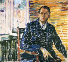 Edvard Munch (Norwegian 1863–1944) [Expressionism, Symbolism] Self-Portrait at Professor Jacobson's Hospital, 1909.