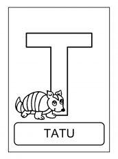 alfabeto de animais T para colorir