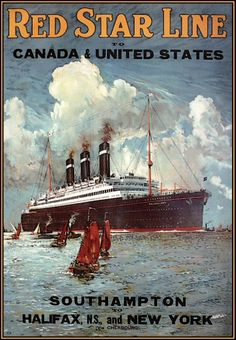 Red Star Line 1930 Southampton Canada United States  http://stores.ebay.com/Vintage-Poster-Prints-and-more