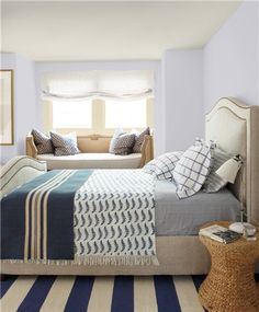 Look at the paint color combination I created with Benjamin Moore. Via Walls: Winter Gates Trim: Pure White Ceiling: Super White Share your saved colors, start a new search or go to your local Benjamin Moore retailer for samples. Benjamin Moore Bedroom, Benjamin Moore Paint, Pink Paint Colors, Bedroom Paint Colors, Blue Painted Walls, Blue Walls, White Walls, White Bedroom, Master Bedroom