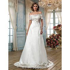 A-line Off-the-shoulder Scalloped-Edge Sweep/Brush Train Satin Wedding Dress (636695) – USD $ 249.99