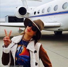She goes in peace: Alessandra posted a photo of herself preparing to board a private jet f...