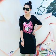 TC000865 Casual Korean style autumn T-shirt loose slim long tops