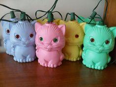 Vintage Cat Patio Lights Retro String of Plastic by VintageFunland