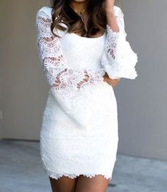 Fashionback Women's Pencil Dress Elegant Sexy Lace Bell Sleeves Mini Party Dress White One Size Elegant Dresses, Casual Dresses, Short Dresses, Dress Long, Mini Robes, Quinceanera Dresses, Pencil Dress, Wedding Attire, Party Dress