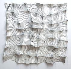 "Chung-Im Kim 'dawn'  2009  46"" x 47"" x 4"" industrial felt, digitally engineered image, silkscreen printing, hand stitching"
