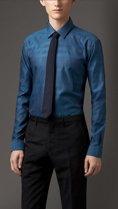 Burberry Modern Fit Cotton Dress Shirt // subtle burberry pattern, i like it.