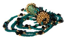 Beadwoven Black Onyx and Teal and Gold Seedbead by Giftbearer