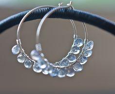 Hoop Earrings Argentium Sterling Silver Labradorite