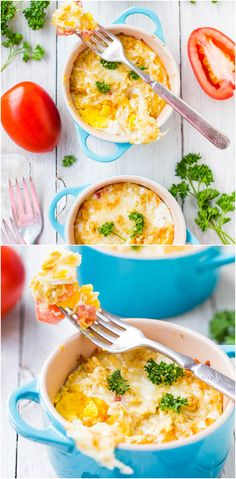 White Cheddar and Dijon Baked Eggs - Fast & easy comfort food that's ready in 15 minutes! The Dijon & cheese just jazz these eggs right up!