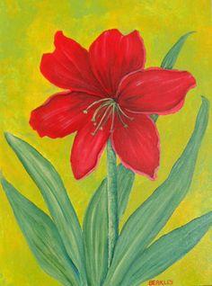 Amaryllis Painting Red Amaryllis Acrylic by LisasPaintedCrafts
