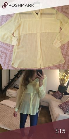 Sheer Bright Yellow Blouse Sheer bright yellow blouse. The color is slightly neon but subtle. Very flowy and comfy H&M Tops Blouses