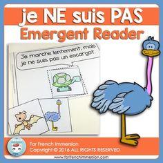 FRENCH Emergent Reader - je NE suis PAS. Pour les lecteurs débutants. En français. Emergent Readers, Teaching French, Anchor Charts, Grade 1, Language, Teacher, Student, Education, Reading