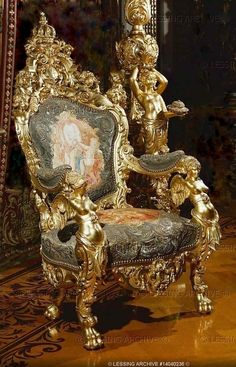 Gilded Throne in the King's study in Herrenchiemsee, a residence built for Ludwig II of Bavaria, 19th century.