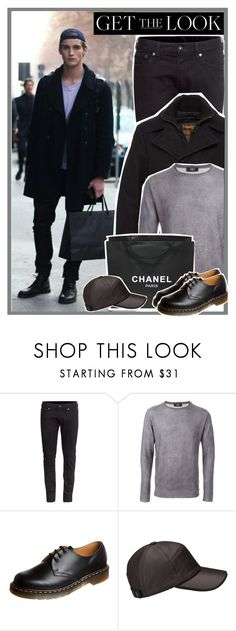 """""""Men on the streets - get the look"""" by anne-mclayne ❤ liked on Polyvore featuring H&M, Schott NYC, Fendi, Chanel, Dr. Martens, GetTheLook, StreetStyle and menswear"""