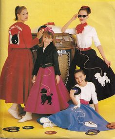 Girls Poodle Skirt Sewing Pattern Size 7 8 10 12 14 Uncut Costumes For Kids Simplicity 5401