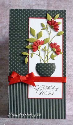 "By Debby. Uses My Favorite Things ""Upsy Daisy"" die and Memory Box ""Fresh Foliage"" die. Love the color combo and the striped & dotted paper together."
