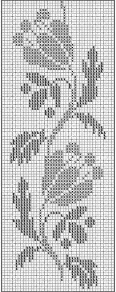Filet crochet chart for a rose Filet Crochet Charts, Crochet Borders, Tunisian Crochet, Crochet Stitches, Cross Stitch Fruit, Cross Stitch Borders, Cross Stitch Designs, Crochet Table Runner, Crochet Tablecloth
