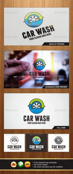Car Wash Logo — JPG Image #blue #creative • Available here → https://graphicriver.net/item/car-wash-logo/6050341?ref=pxcr