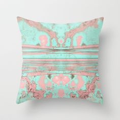 Penelope's Soul Throw Pillow #pink #turquoise #teal #aqua #mint #texture #fractal #soul #penelope #shape #pattern #design #art #creative #unique #society6 #splatter #pillow #pillows #case #cover #throw #bed #bedroom #bedding #sofa #couch #pillowcase #pillowcover #throwpillow #throwpillows