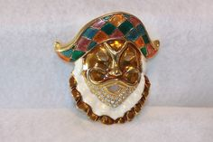 Vintage Large Jester Pirate Enameled Rhinestone Brooch. Starting at $10