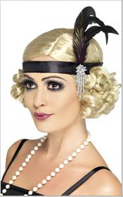Ladies Black Charleston Flapper Headband Gatsby Feather Fancy Dress for sale online Flapper Girls, Flapper Style, 1920s Flapper, 1920s Style, Gatsby Style, Gatsby Theme, Flapper Dresses, 1920s Fashion Gatsby, 1920s Makeup Gatsby