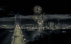 #cityscape #night view #bridge #light spots #silhouette #romantic #fireworks #celebration #festive #festival #new year
