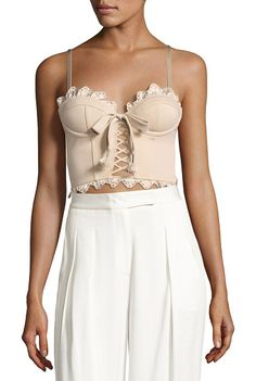 On SALE at 51% OFF! Eyelet Ruffle Bustier Top by FENTY PUMA by Rihanna. Fenty Puma by Rihanna bustier top with satin eyelet-ruffled trim. Sweetheart neckline. Molded cups for support. Adjus...