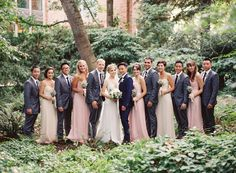 Pink dresses with gray suits | Photo by Bryce Covey  Read more - http://www.stylemepretty.com/2014/03/03/rustic-sodo-park-wedding-in-seattle-washington/