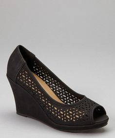 Take a look at the TOP MODA Black Cutout Peep-Toe Wedge on #zulily today!