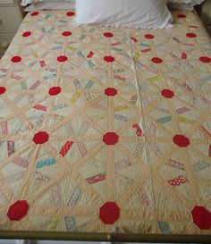 Beautiful-Vintage-American-Patchwork-Quilt-c-1930s-Very-Rare-Wheel-Pattern